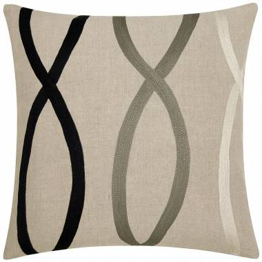 Judy Ross Textiles Embroidered Linen Swim 18x18 Throw Pillow black/pewter/cream