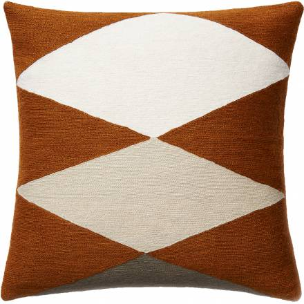 Judy Ross Textiles Hand-Embroidered Chain Stitch ACE Throw Pillow rust/cream/oyster/iron