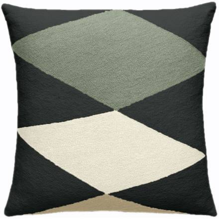 Judy Ross Textiles Hand-Embroidered Chain Stitch Ace Throw Pillow charcoal/sage/cream/blonde