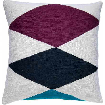 Judy Ross Textiles Hand-Embroidered Chain Stitch Ace Throw Pillow cream/claret/navy/peacock