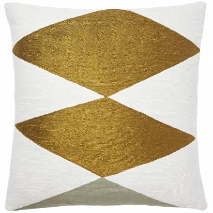 Judy Ross Textiles Hand-Embroidered Chain Stitch Ace Throw Pillow cream/gold rayon/iron