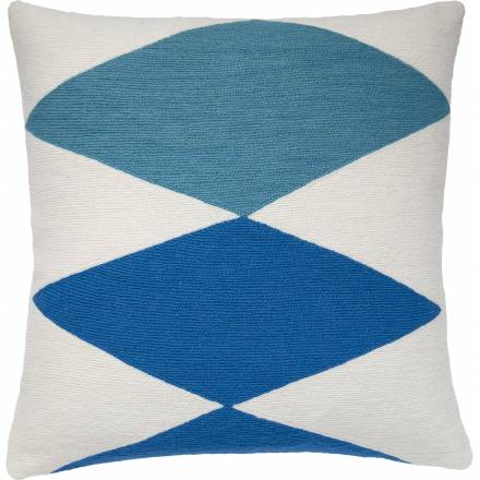 Judy Ross Textiles Hand-Embroidered Chain Stitch Ace Throw Pillow cream/sky blue/marine