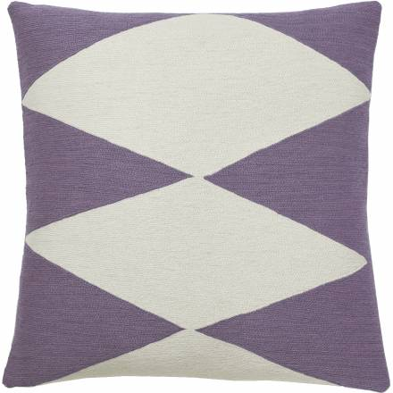 Judy Ross Textiles Hand-Embroidered Chain Stitch Ace Throw Pillow lilac/cream