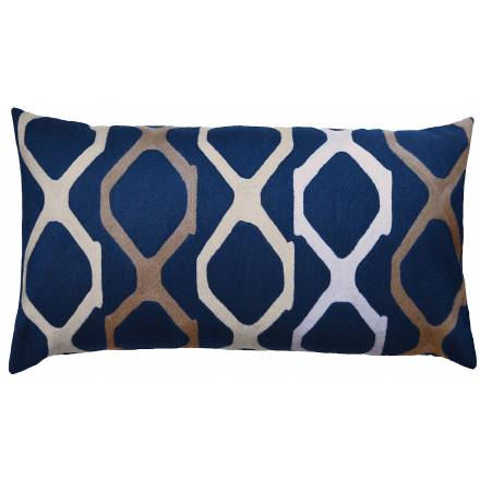 Judy Ross Textiles Hand-Embroidered Chain Stitch Arbor Throw Pillow navy/oyster/iron/cream