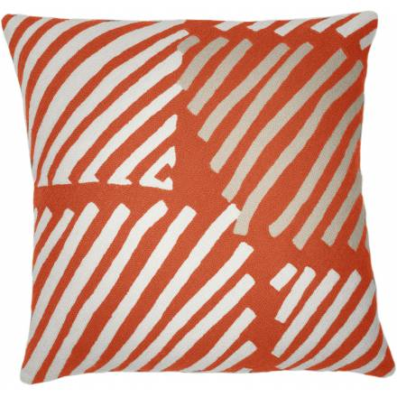 Judy Ross Textiles Hand-Embroidered Chain Stitch Big Static Box Throw Pillow coral/cream/oyster