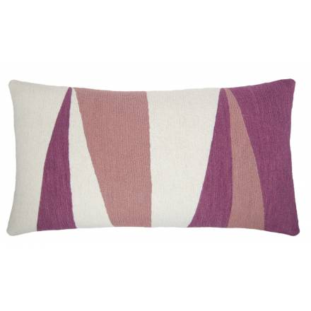 Judy Ross Textiles Hand-Embroidered Chain Stitch Blade 14x24 Cream Throw Pillow dusty pink/fuchsia