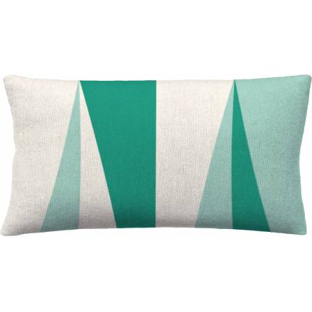 Judy Ross Textiles Hand-Embroidered Chain Stitch Blade 14x24 Throw Pillow cream/aqua/pool