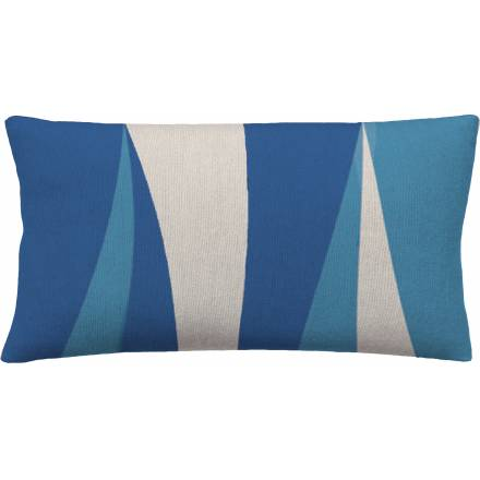 Judy Ross Textiles Hand-Embroidered Chain Stitch Blade 14x24 Throw Pillow marine/cream/sky blue