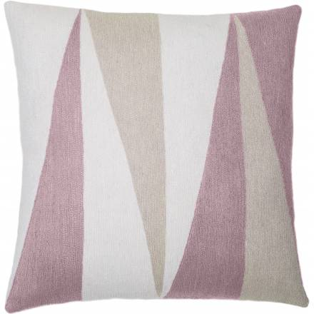 Judy Ross Textiles Hand-Embroidered Chain Stitch Blade Throw Pillow cream/dusty pink/oyster