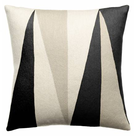 Judy Ross Textiles Hand-Embroidered Chain Stitch Blade Throw Pillow cream/black/oyster