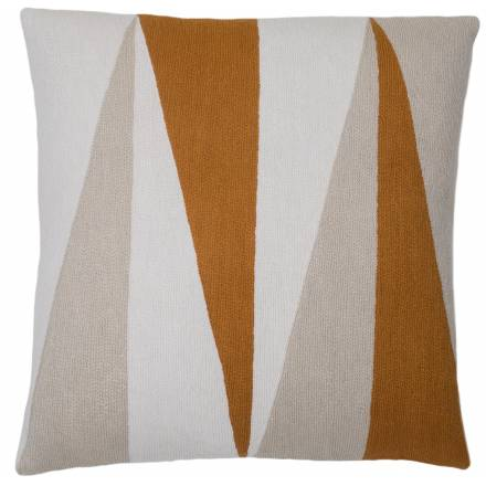Judy Ross Textiles Hand-Embroidered Chain Stitch Blade Throw Pillow cream/oyster/amber