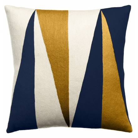 Judy Ross Textiles Hand-Embroidered Chain Stitch Blade Throw Pillow cream/navy/gold rayon