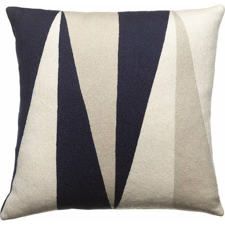 Judy Ross Textiles Hand-Embroidered Chain Stitch Blade Throw Pillow navy/cream/oyster