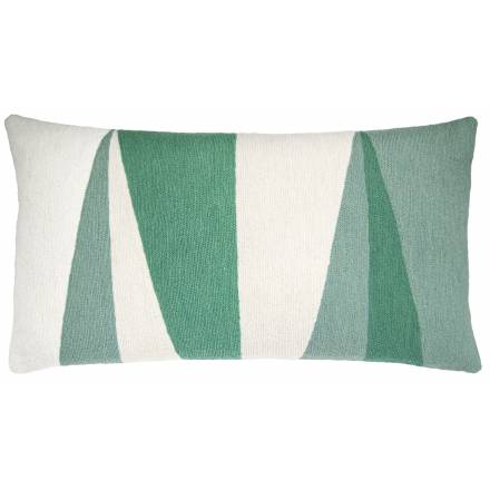 Judy Ross Textiles Hand-Embroidered Chain Stitch Blade14x24 Throw Pillow cream/mint/aqua