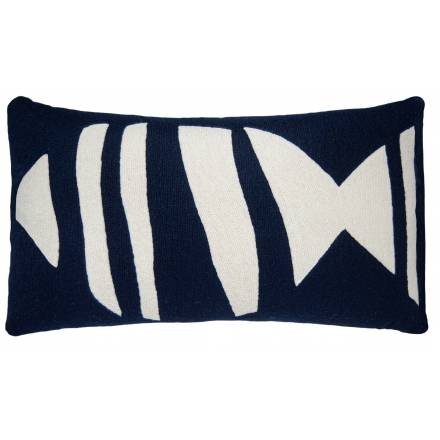 Judy Ross Textiles Hand-Embroidered Chain Stitch Boca 14x24 Throw Pillow navy/cream