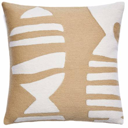 Judy Ross Textiles Hand-Embroidered Chain Stitch Boca Throw Pillow blonde/cream
