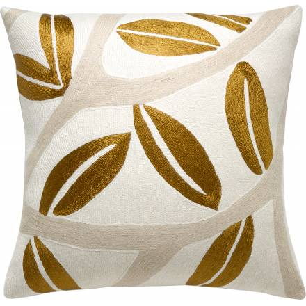 Judy Ross Textiles Hand-Embroidered Chain Stitch Branches Throw Pillow cream/oyster/gold rayon