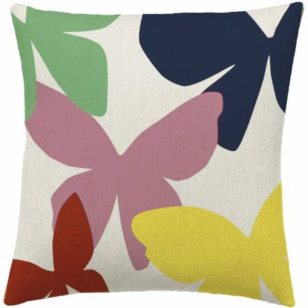 Judy Ross Textiles Hand-Embroidered Chain Stitch Butterflies Throw Pillow cream/dusty pink/coral/yellow/navy/aqua