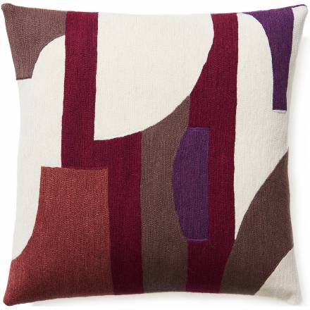 Judy Ross Textiles Hand-Embroidered Chain Stitch COMPOSITION Throw Pillow mauve/cream/claret/raspberry/purple
