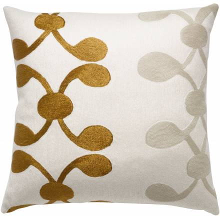 Judy Ross Textiles Hand-Embroidered Chain Stitch Celine Throw Pillow cream/gold rayon/oyster
