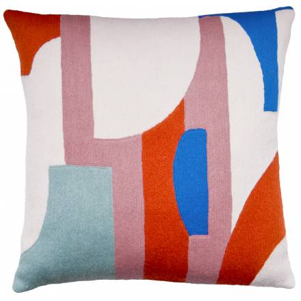 Judy Ross Textiles Hand-Embroidered Chain Stitch Composition Throw Pillow cream/dusty pink/coral/powder blue/marine