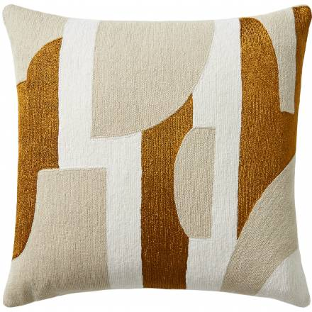 Judy Ross Textiles Hand-Embroidered Chain Stitch Composition Throw Pillow cream/oyster/gold rayon