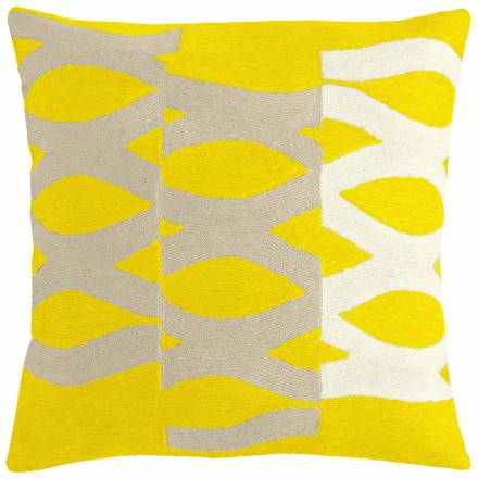 Judy Ross Textiles Hand-Embroidered Chain Stitch DNA Throw Pillow yellow/oyster/cream
