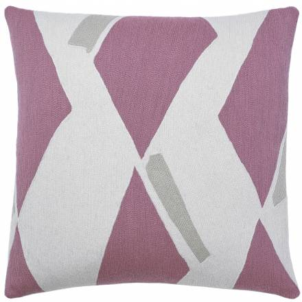 Judy Ross Textiles Hand-Embroidered Chain Stitch Diamonds Throw Pillow cream/dusty pink/oyster