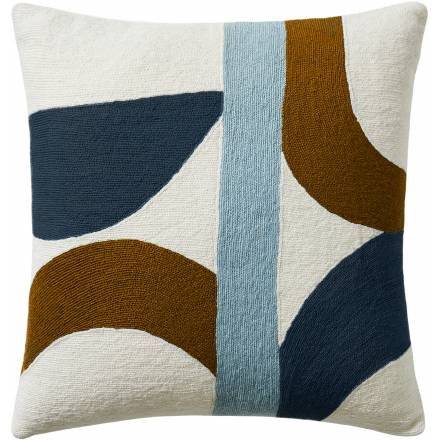 Judy Ross Textiles Hand-Embroidered Chain Stitch Eclipse Throw Pillow cream/powder blue/amber/slate