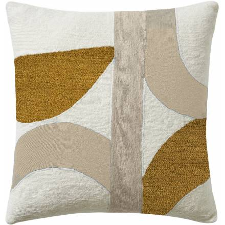 Judy Ross Textiles Hand-Embroidered Chain Stitch Eclipse Throw Pillow cream/oyster/gold rayon