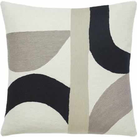 Judy Ross Textiles Hand-Embroidered Chain Stitch Eclipse Throw Pillow cream/smoke/black/oyster