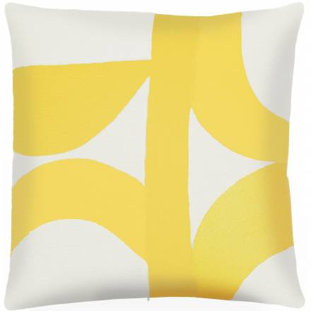 Judy Ross Textiles Hand-Embroidered Chain Stitch Eclipse Throw Pillow cream/yellow