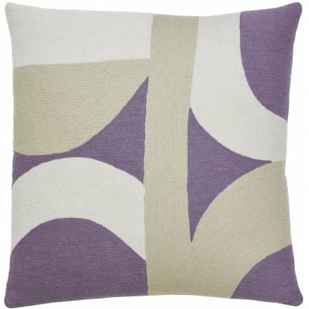 Judy Ross Textiles Hand-Embroidered Chain Stitch Eclipse Throw Pillow lilac/cream/oyster