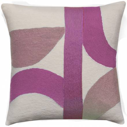 Judy Ross Textiles Hand-Embroidered Chain Stitch Eclipse Throw Pillow cream/fuchsia/dusty pink