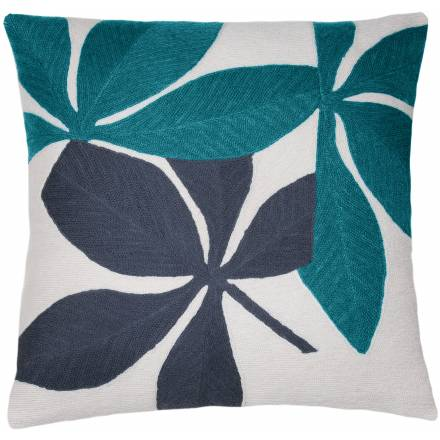 Judy Ross Textiles Hand-Embroidered Chain Stitch Fauna Throw Pillow cream/peacock/slate