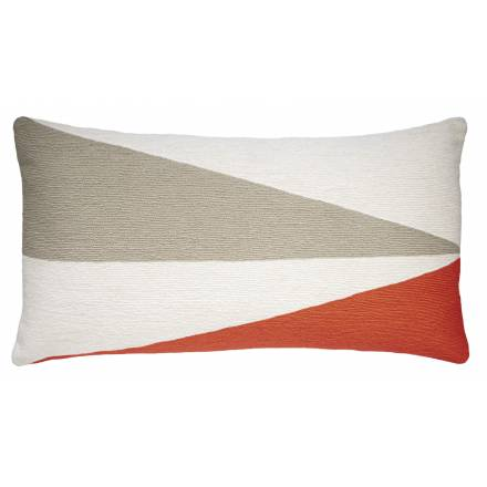 Judy Ross Textiles Hand-Embroidered Chain Stitch Fraction 14x24 Throw Pillow cream/oyster/coral