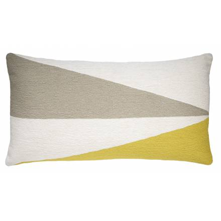 Judy Ross Textiles Hand-Embroidered Chain Stitch Fraction 14x24 Throw Pillow cream/oyster/yellow