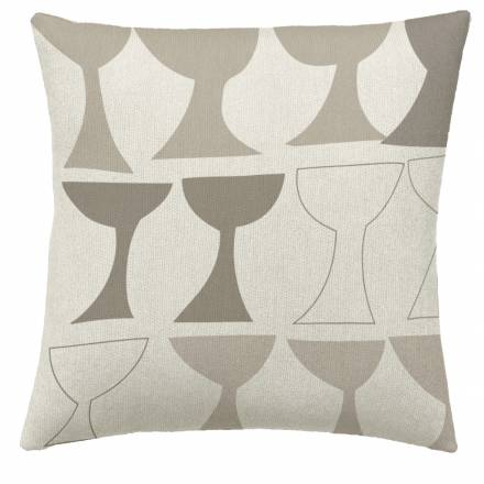 Judy Ross Textiles Hand-Embroidered Chain Stitch Goblet Throw Pillow cream/oyster/smoke/iron