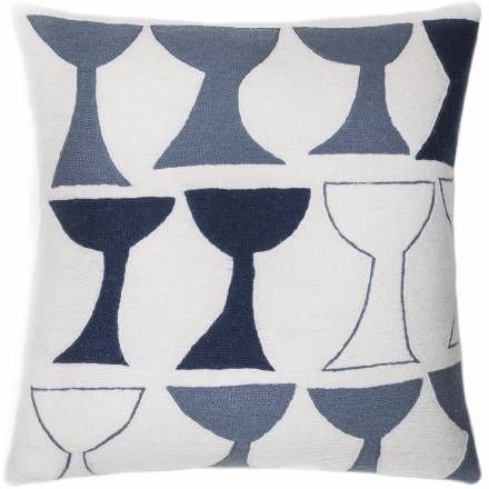 Judy Ross Textiles Hand-Embroidered Chain Stitch Goblet Outlined Throw Pillow cream/slate/navy