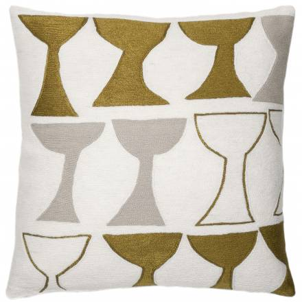 Judy Ross Textiles Hand-Embroidered Chain Stitch Goblet Throw Pillow cream/gold rayon/oyster