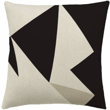 Judy Ross Textiles Hand-Embroidered Chain Stitch Headshot Throw Pillow cream/black/oyster
