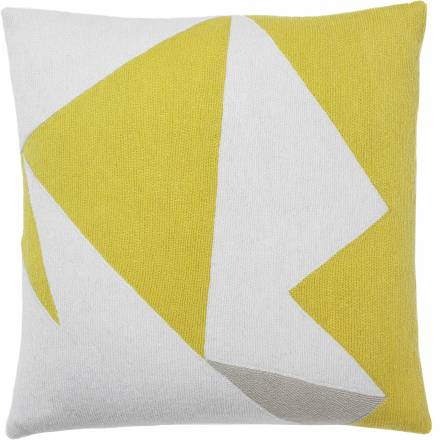 Judy Ross Textiles Hand-Embroidered Chain Stitch Headshot Throw Pillow cream/yellow/oyster