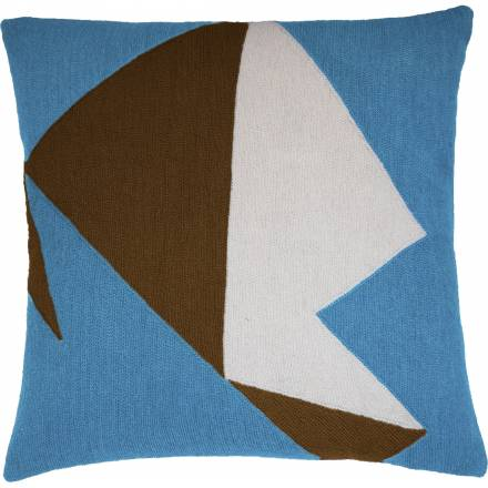 Judy Ross Textiles Hand-Embroidered Chain Stitch Headshot Throw Pillow sky blue/chestnut/cream