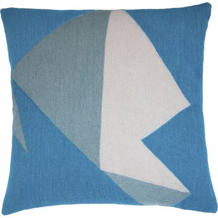 Judy Ross Textiles Hand-Embroidered Chain Stitch Headshot Throw Pillow sky blue/powder blue/cream