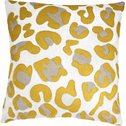 Judy Ross Textiles Hand-Embroidered Chain Stitch Highlight Throw Pillow cream/gold rayon/oyster