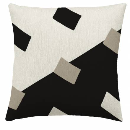 Judy Ross Textiles Hand-Embroidered Chain Stitch Highway Throw Pillow black/oyster/cream