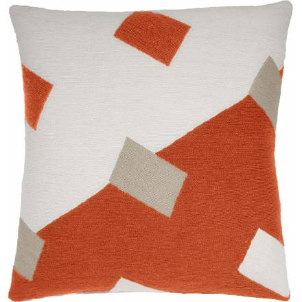 Judy Ross Textiles Hand-Embroidered Chain Stitch Highway Throw Pillow cream/coral/oyster
