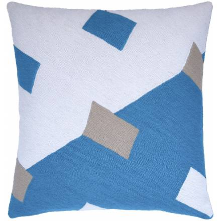 Judy Ross Textiles Hand-Embroidered Chain Stitch Highway Throw Pillow cream/sky blue/oyster