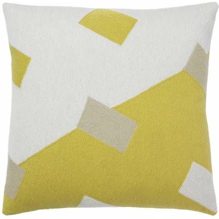 Judy Ross Textiles Hand-Embroidered Chain Stitch Highway Throw Pillow cream/yellow/oyster