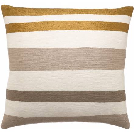 Judy Ross Textiles Hand-Embroidered Chain Stitch Horizon Throw Pillow cream/gold rayon/smoke/iron